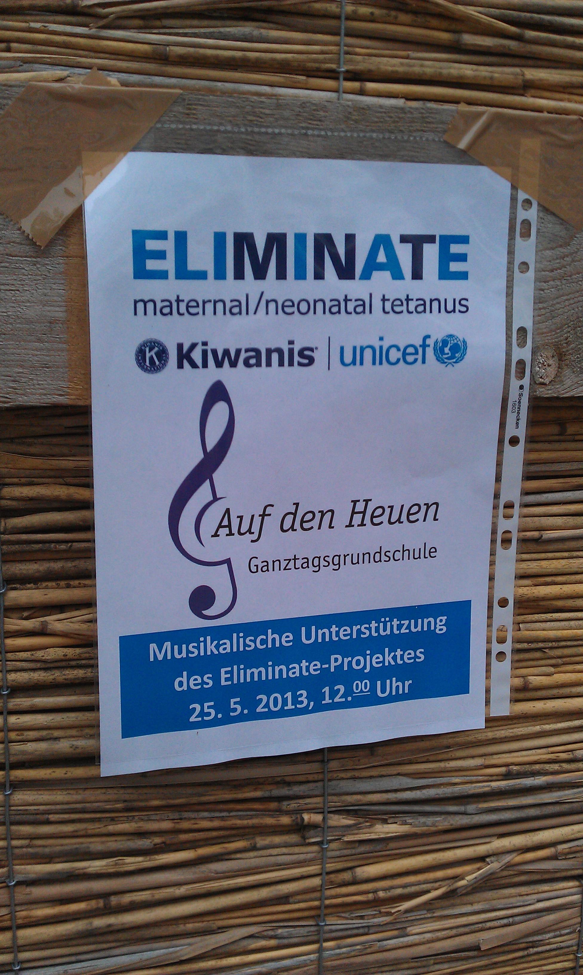 Plakat der Trommelaktion in der Innenstadt